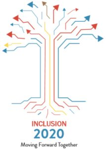 Inclusion 2020 Moving Forward Together and a graphic of a tree made out of arrows pointing up and out